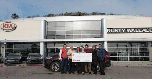 Pictured L R: Jake Bull, Rusty Wallace Kia Of Knoxville General Manager;  Ray Huffaker, Owner Of Rusty Wallace Kia Of Knoxville; Shannon And Josh  Williams, ...